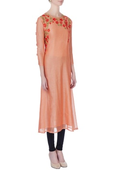 Peach machine embroidered kurta