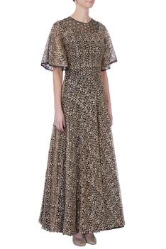 Gold beige sequin gown