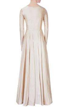 Beige flared embroidered silk gown