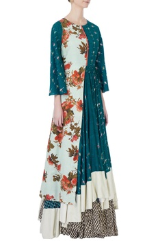 Multicolored handloom cotton maxi dress