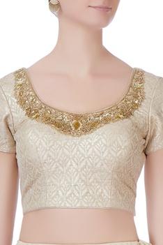 Beige net lehenga & blouse
