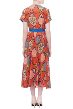 Orange fish printed dress