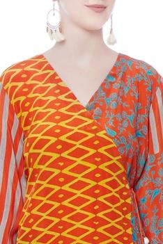 Orange wraped printed dress