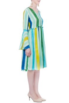 Multicolored striped printed dress