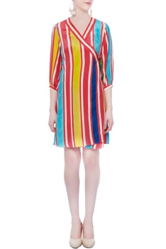 Coral striped printed dress
