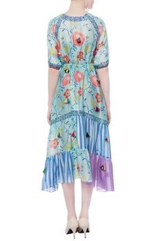 Jade blue printed dress