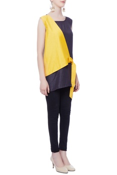 Blue& yellow tie up tunic