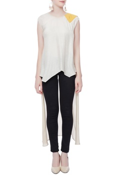 White triangle high low top