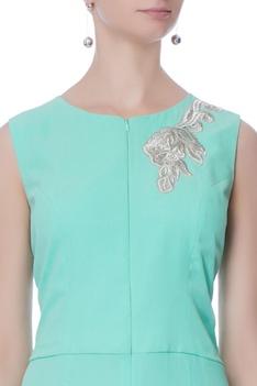 Mint blue kasab embroidered jumpsuit