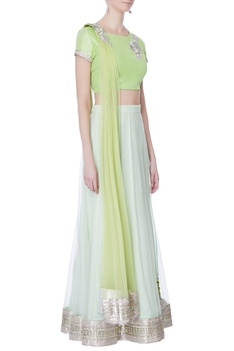 Mint green kasab embroidered lehenga set