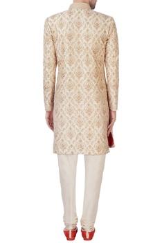 Beige embroidered sherwani set