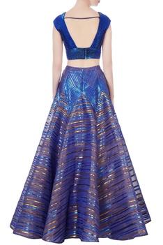 Blue sequin blouse & flared lehenga