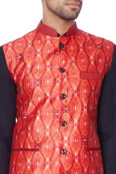 Red printed nehru jacket