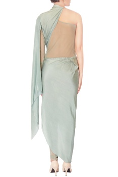 Light green one shoulder jumpsuit