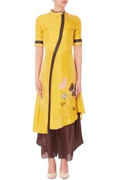 Yellow floral kurta & brown palazzo pants