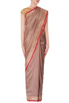 Grey tussar sari with unstitched blouse