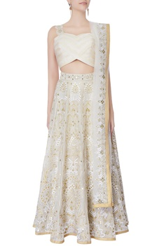 White & gold mirror work lehenga set