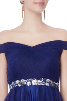 Midnight blue net bias cut gown