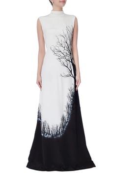 Black & white high turtleneck gown