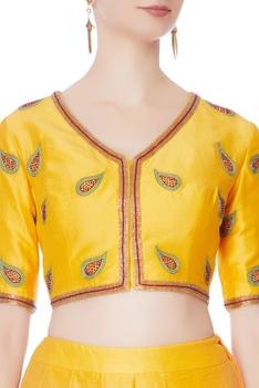 Yellow silk lehenga set