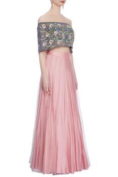 Rose pink lehenga & off-shoulder blouse