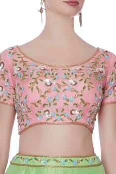 Green silk lehenga with pink blouse & dupatta