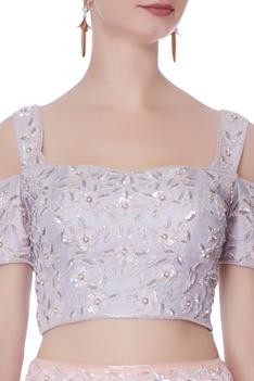 Purple embellished blouse & lehenga set