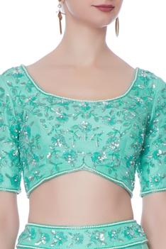 Green pearl embellished lehenga set