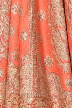 Peach dupion silk bridal lehenga set