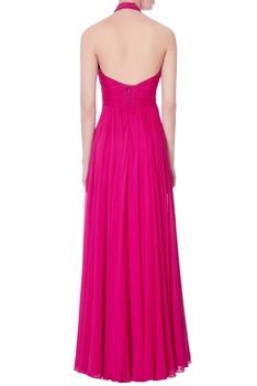 Hot pink halter gown
