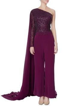 Purple one-shoulder sequin jumpsuit
