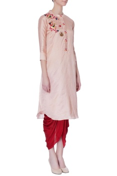 Onion pink hand embroidered kurta