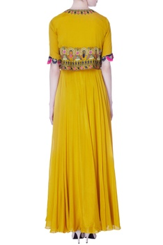 Yellow chiffon silk gown