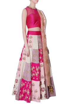 Multicolored embroidered lehenga & pink blouse