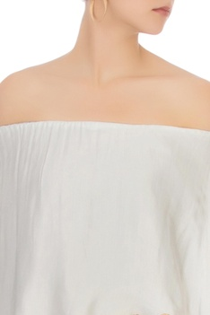 Grey off shoulder blouse & dhoti pants