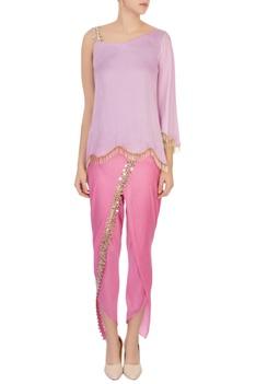 Lavender one shoulder blouse & millennial dhoti pants