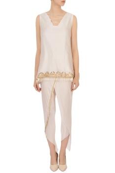 Ivory criss-cross blouse & dhoti pants