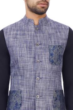 Blue & grey linen textured nehru jacket