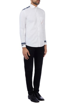 White cotton printed shirt