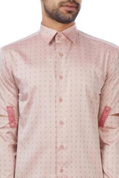 Peach cotton checked shirt