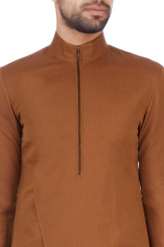 Brown linen cotton solid kurta