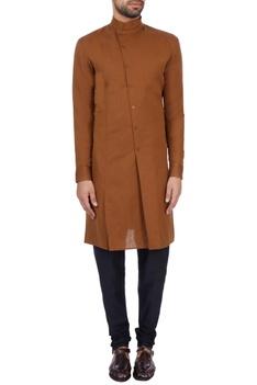 Brown linen cotton solid kurta