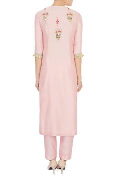 Pink sequin & pearl embellished kurta set
