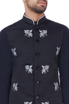 Black unicorn motif nehru jacket