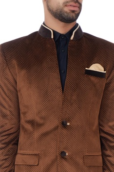 Brown velvet printed bandhgala