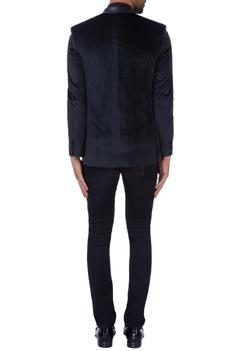 Black velvet printed nehru jacket