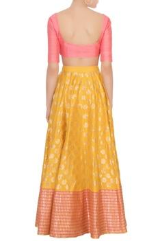 Yellow floral banarasi silk lehenga set