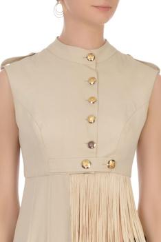 Grey tasseled moss georgette blouse