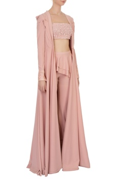 Peach cut-out neoprene pant and blouse set