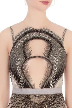 Beige & black sequin embellished gown